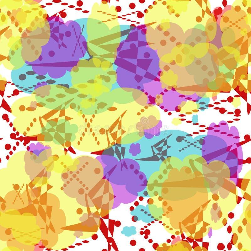 Naadloos patroon van multicolored vlekken, lijnen en punten Gele, rode, turkooise, lilac abstracte elementen royalty-vrije illustratie