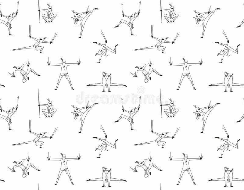 Naadloos patroon van ninja royalty-vrije illustratie