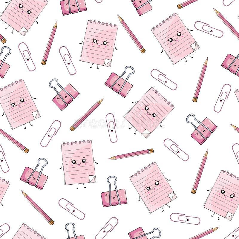 Naadloos patroon van notitieboekjes en kantoorbehoeften in de stijl van Kawai stock illustratie