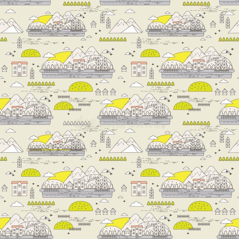 Naadloos patroon van oude stad royalty-vrije illustratie