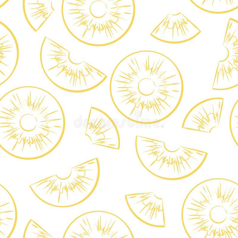 Naadloos patroon van overzicht gesneden ananasstukken op een witte achtergrond vector illustratie