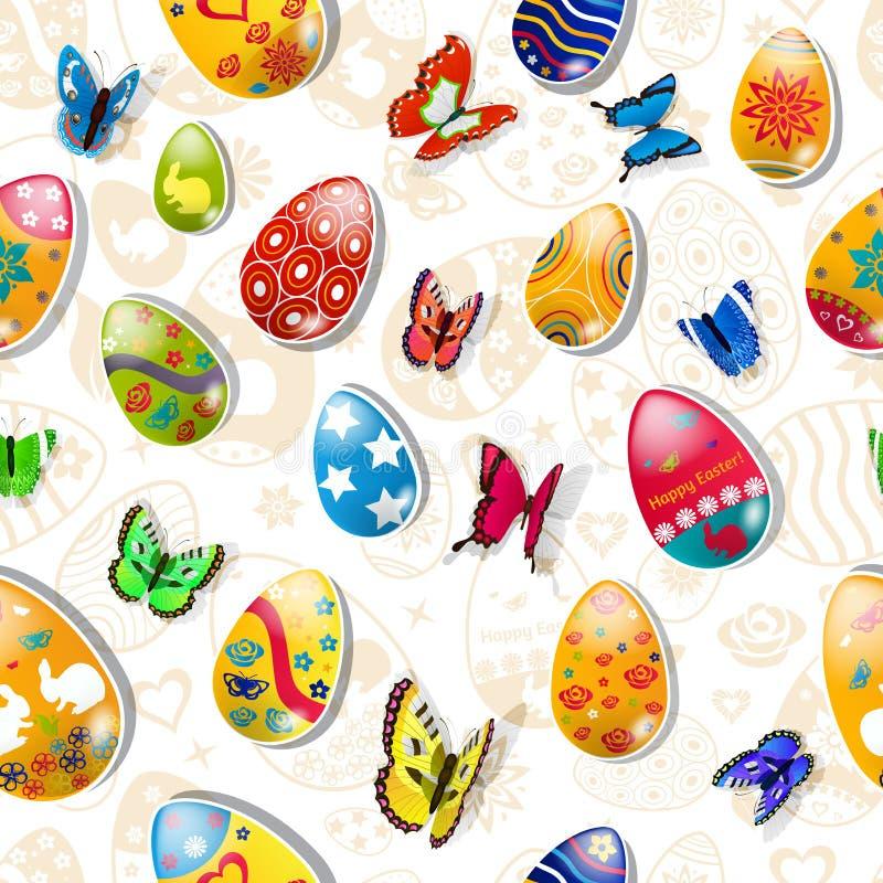Naadloos patroon van paaseieren en vlinders royalty-vrije illustratie