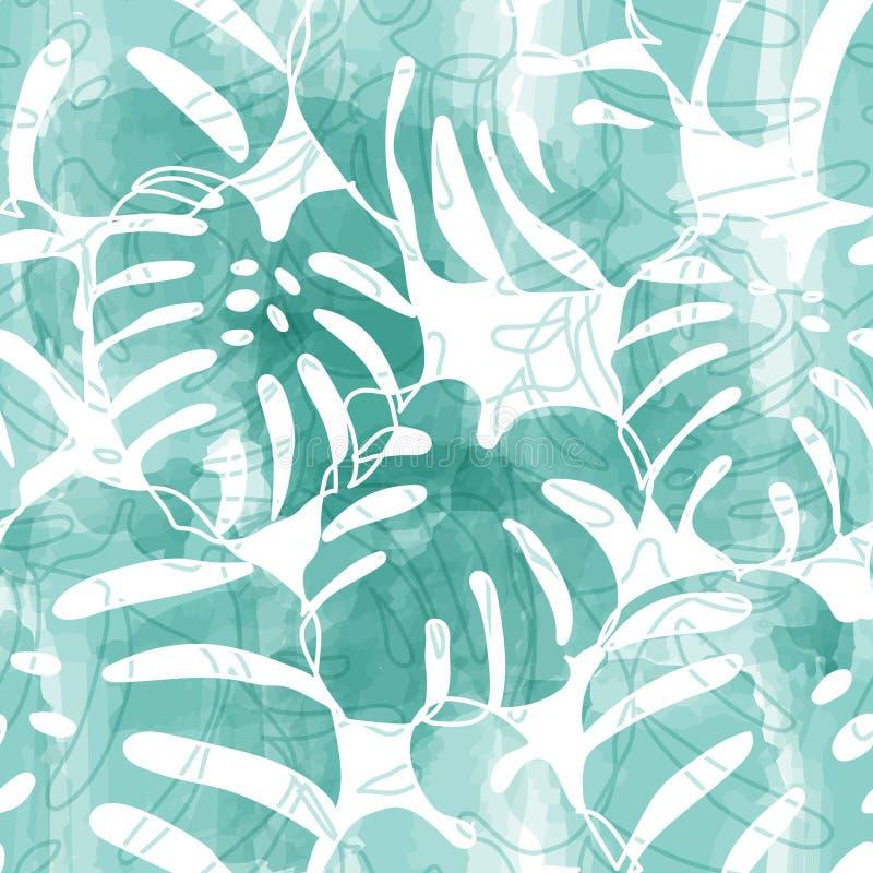 Naadloos patroon van palmenbladeren stock illustratie