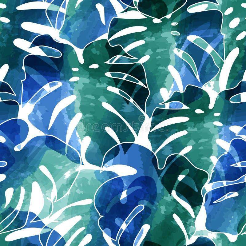 Naadloos patroon van palmenbladeren royalty-vrije illustratie