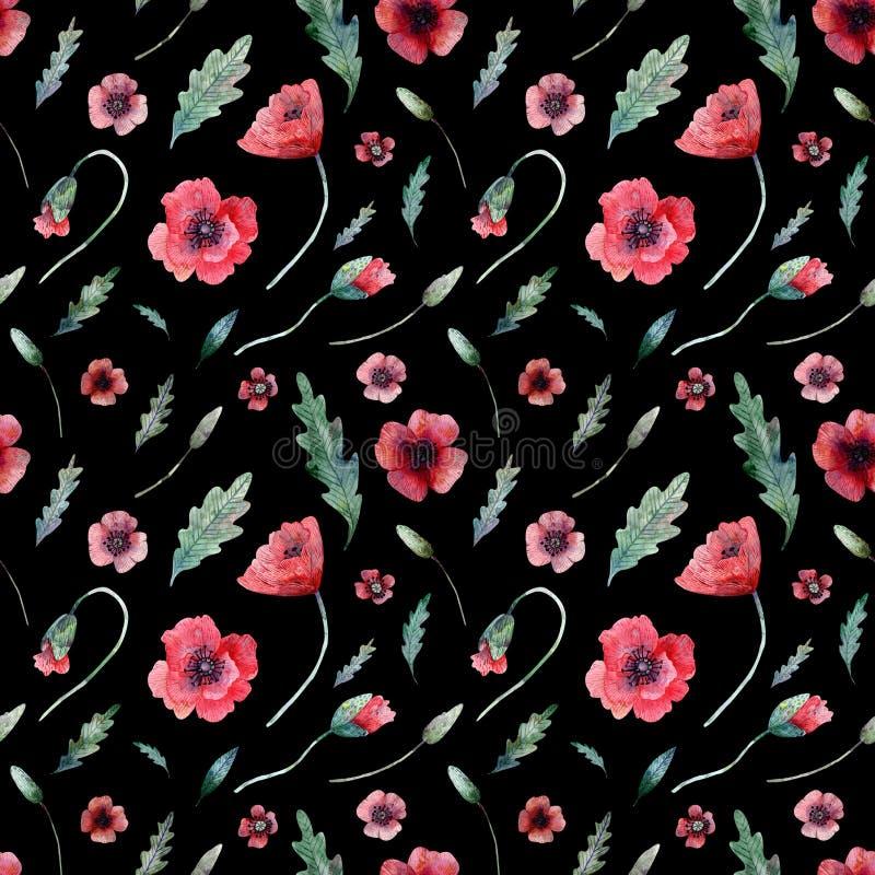 Naadloos patroon van papavers op zwarte stock illustratie