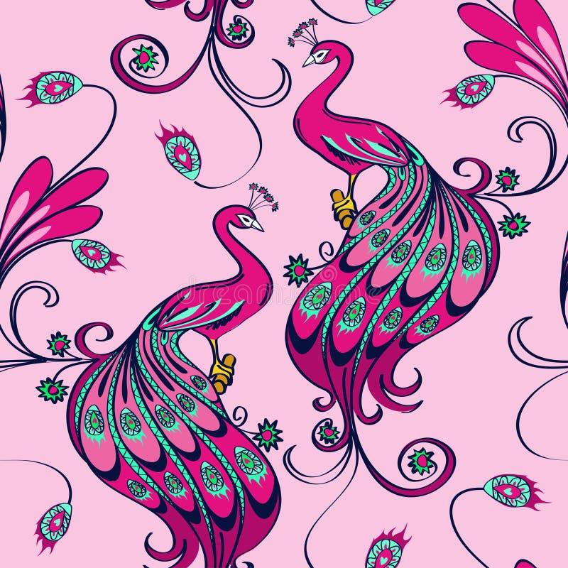 Naadloos patroon van pauwen royalty-vrije illustratie