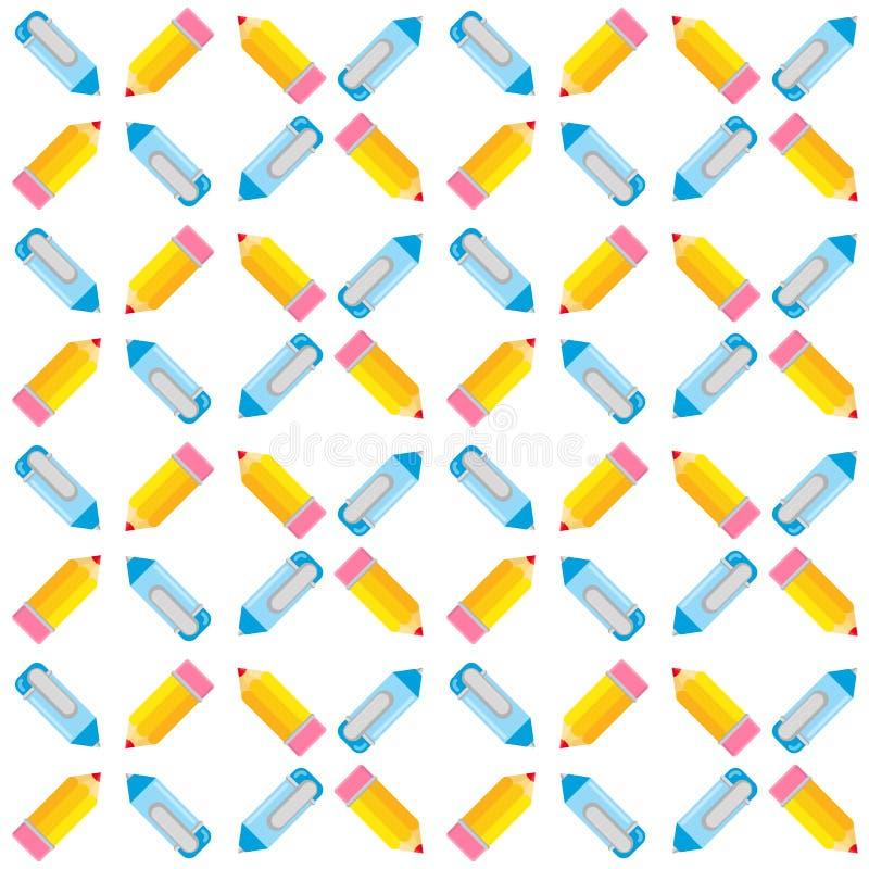 Naadloos patroon van pennen en potloden royalty-vrije illustratie