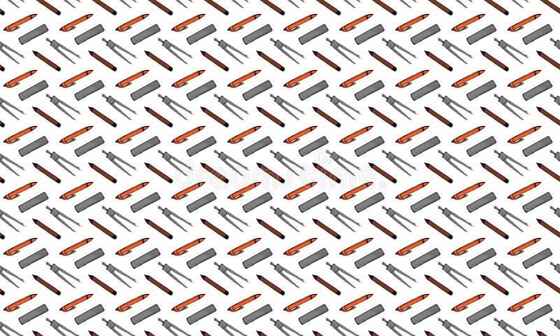 Naadloos patroon van pennen, potloden, heersers en verdelers op een witte achtergrond stock illustratie