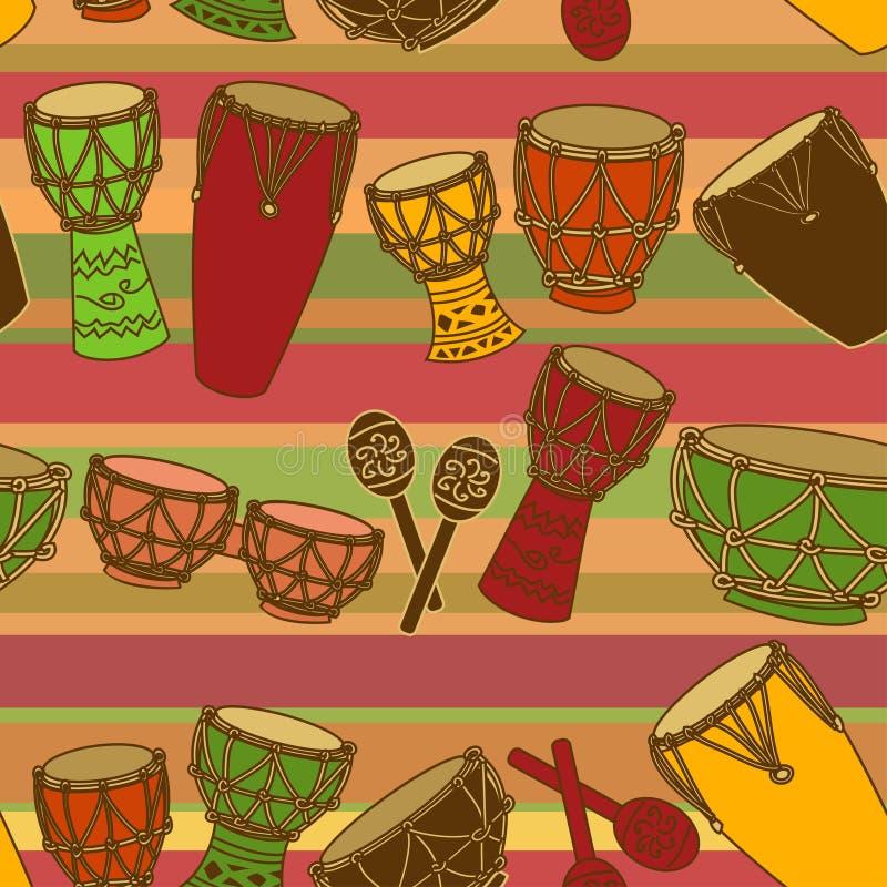 Naadloos patroon van percussie stock illustratie