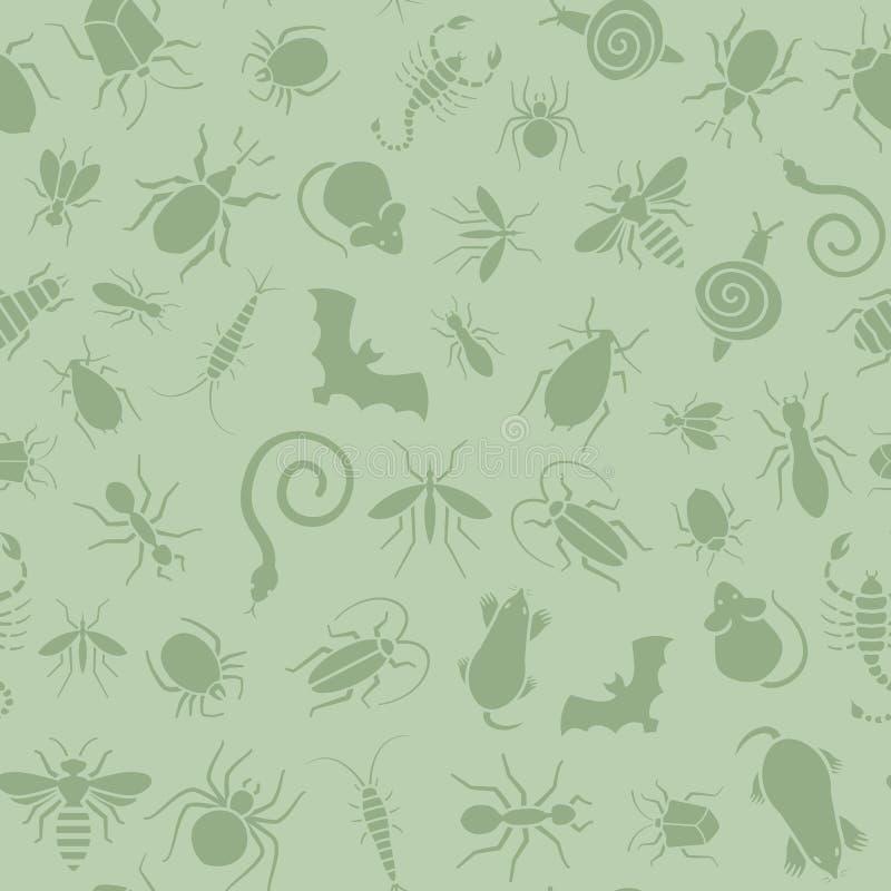 Naadloos patroon van pictogrammen met insecten voor ongediertebestrijdingszaken vector illustratie