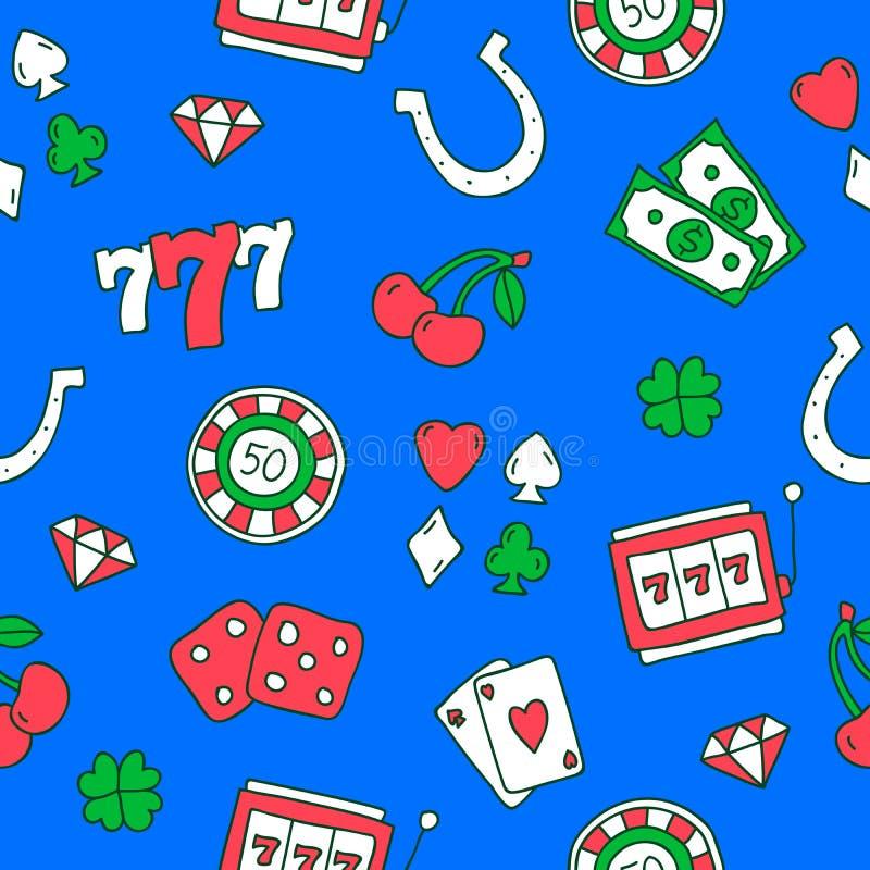 Naadloos patroon van pictogrammen op het casino vector illustratie