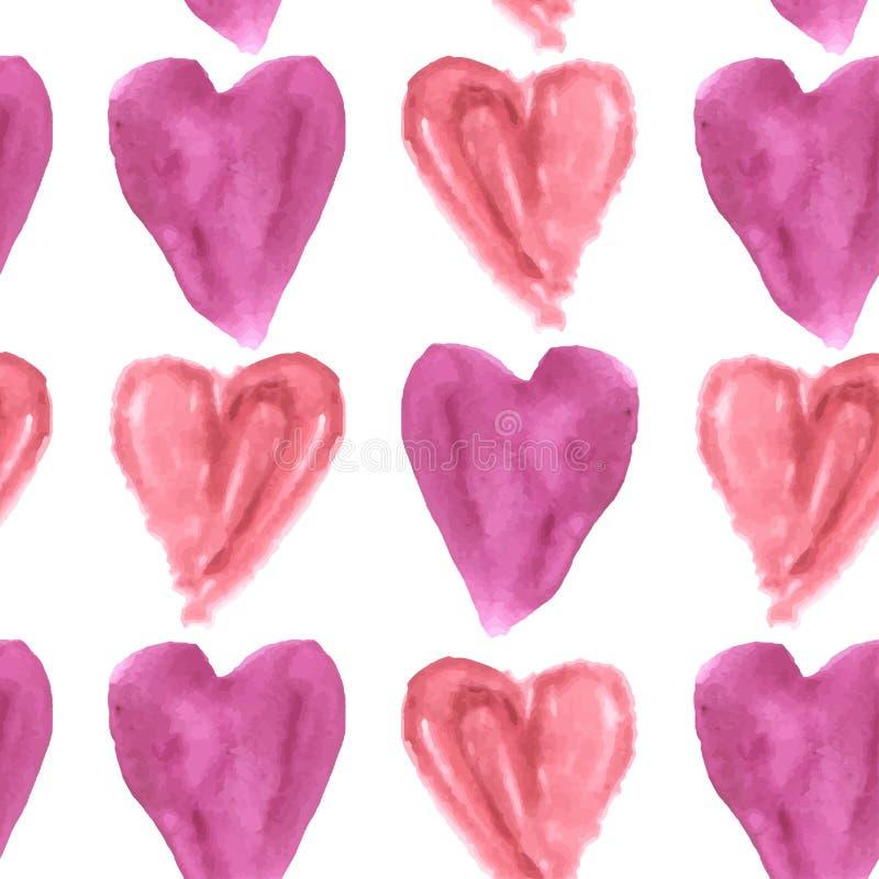 Naadloos patroon van purpere en roze waterverfharten op een witte achtergrond stock illustratie