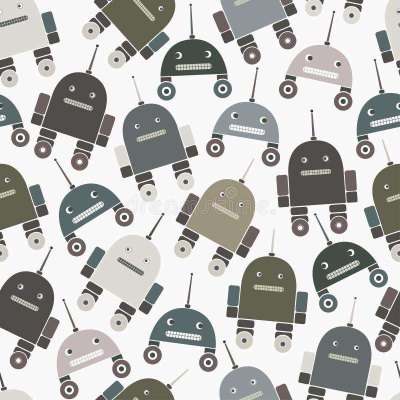 Naadloos patroon van robots vector illustratie