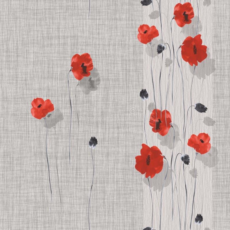Naadloos patroon van rode en grijze bloemen van papaver op een grijze achtergrond met verticale strook Waterverf -1 stock illustratie