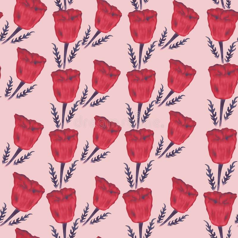 Naadloos patroon van rode papavers op de roze achtergrond stock fotografie