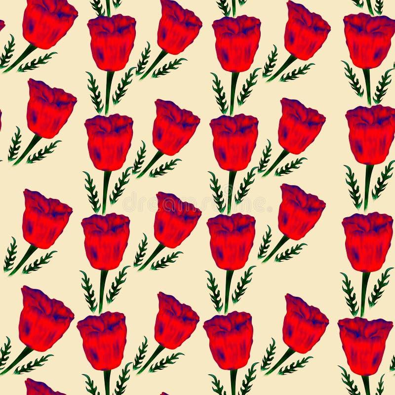 Naadloos patroon van rode papavers op de roze achtergrond royalty-vrije stock foto