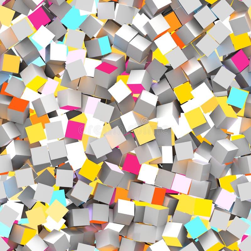 Naadloos patroon van rode, turkooise, grijze en gele gekleurde kubussen royalty-vrije illustratie