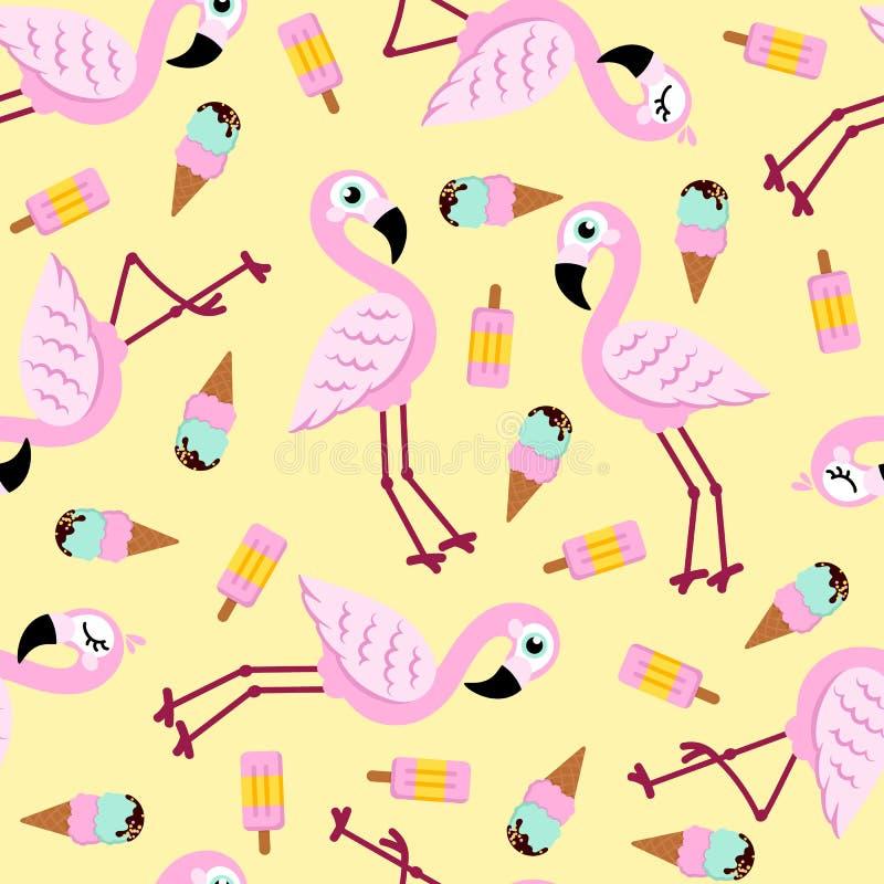 Naadloos patroon van roze flamingo en roomijs Het kan voor prestaties van het ontwerpwerk noodzakelijk zijn stock illustratie