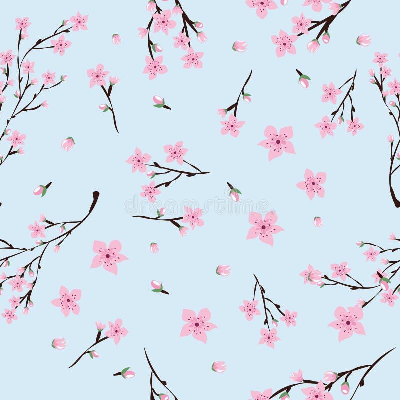 Naadloos patroon van roze kersenbloemen op lichtblauwe achtergrond royalty-vrije stock afbeelding