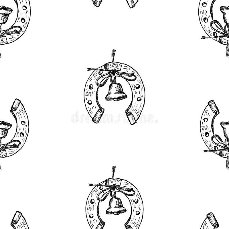 Naadloos patroon van schetsen van hoeven met handbells vector illustratie