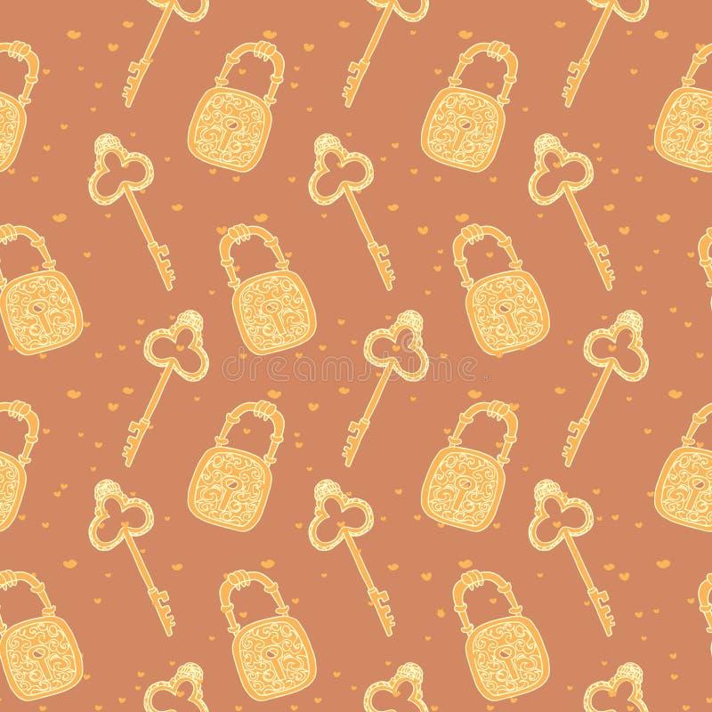 Naadloos patroon van sleutels en sloten stock illustratie