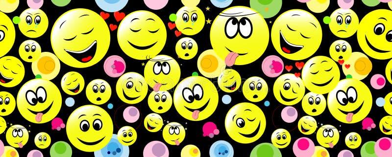 Naadloos patroon van smileygezichten die verschillend gevoel uitdrukken vector illustratie