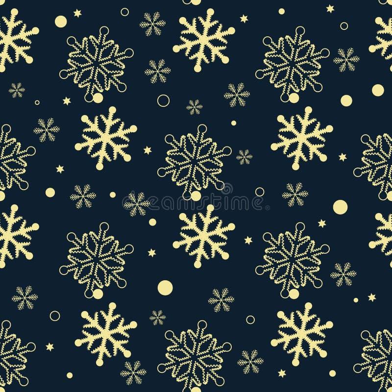Naadloos patroon van sneeuwvlokken Gouden sneeuwvlokken op donkere achtergrond royalty-vrije illustratie