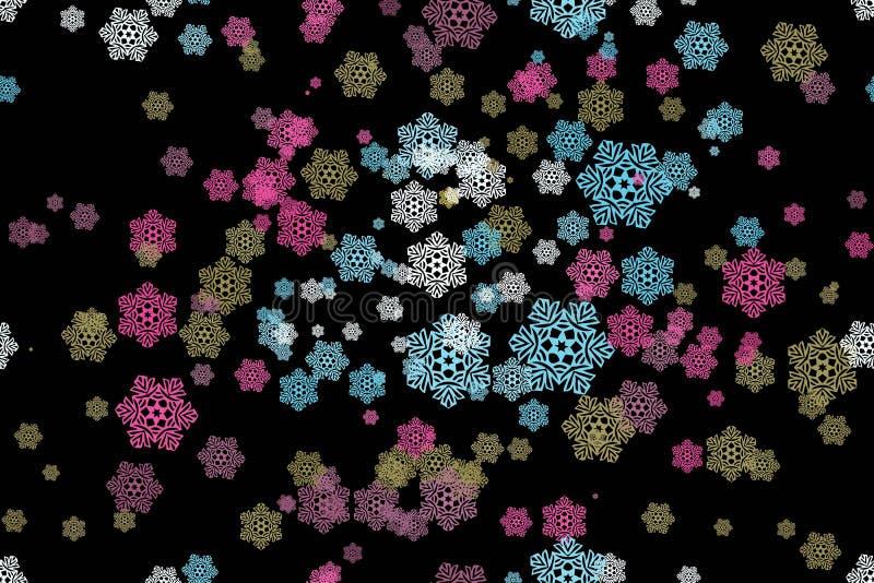Naadloos patroon van sneeuwvlokken op een zwarte royalty-vrije illustratie