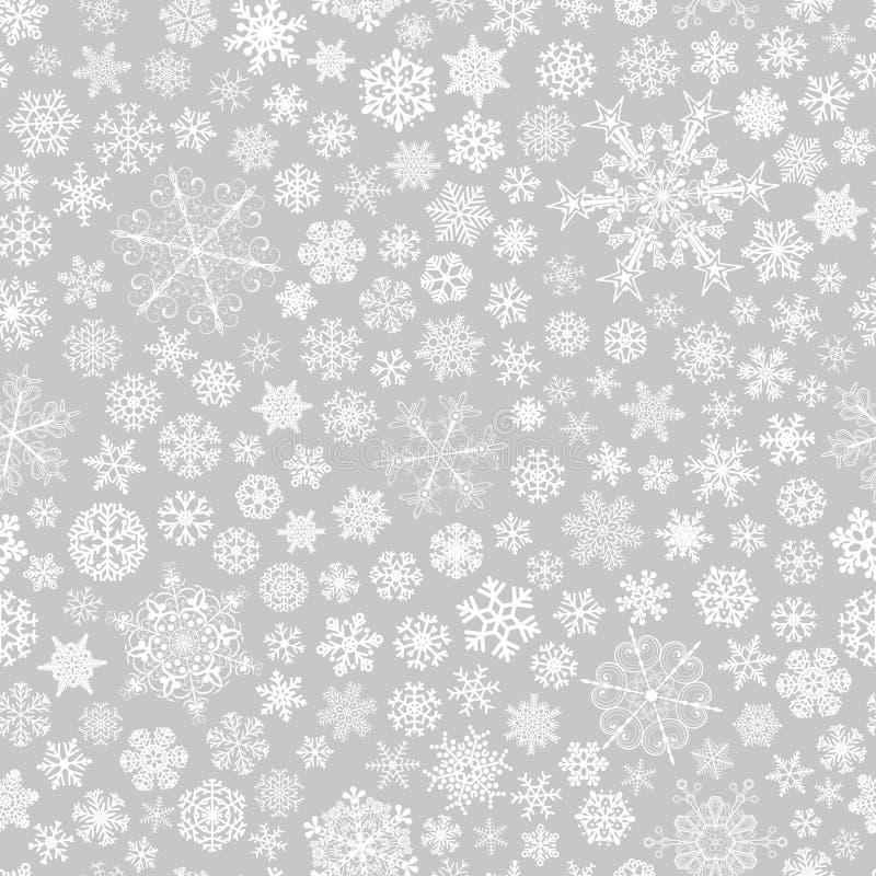 Naadloos patroon van sneeuwvlokken, wit op grijs stock illustratie