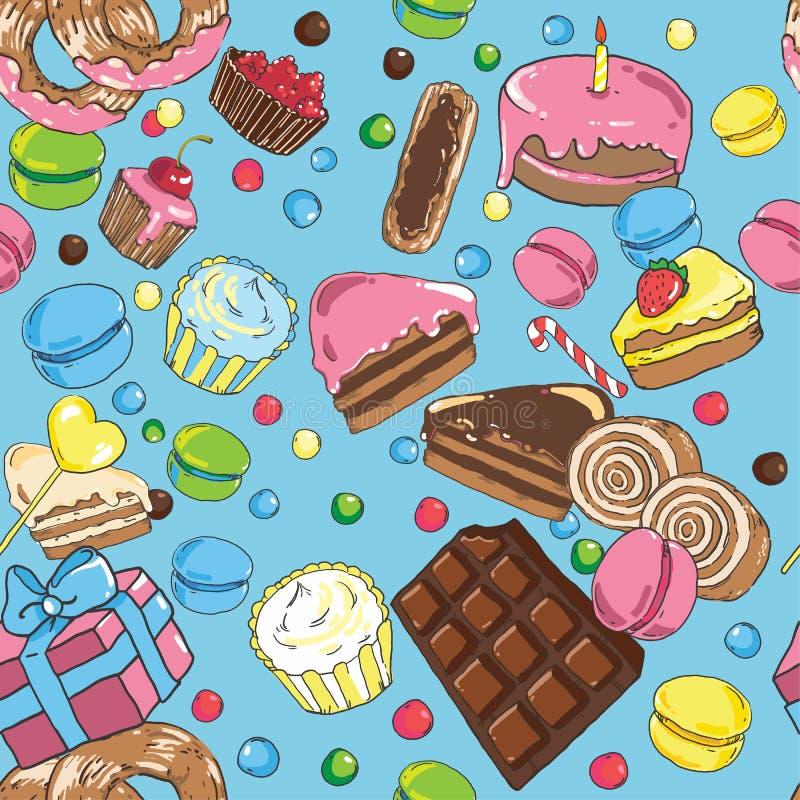 Naadloos patroon van snoepjes stock illustratie