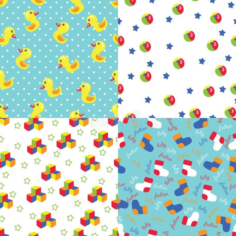 Naadloos patroon van speelgoed, stip, sokken, sterren vector illustratie