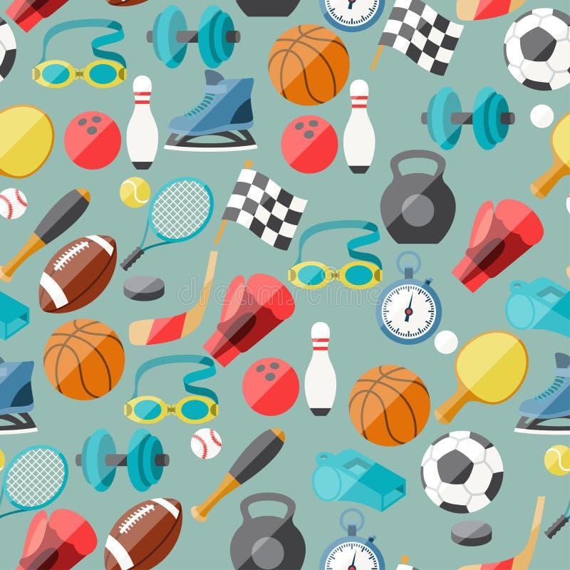 Naadloos patroon van sportpictogrammen vector illustratie