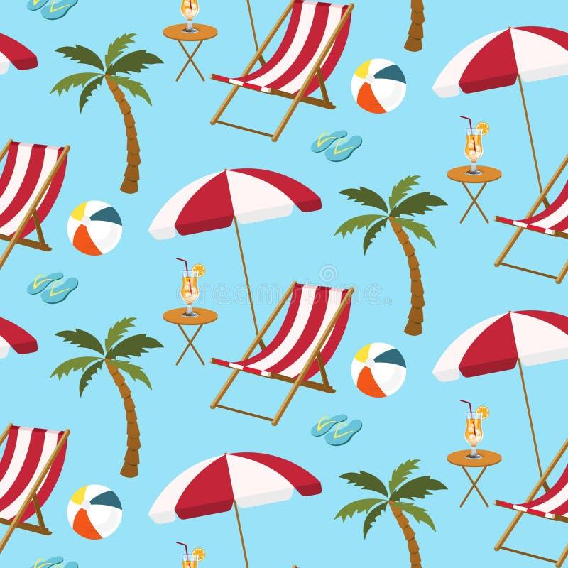 Naadloos patroon van strandmontages stock illustratie