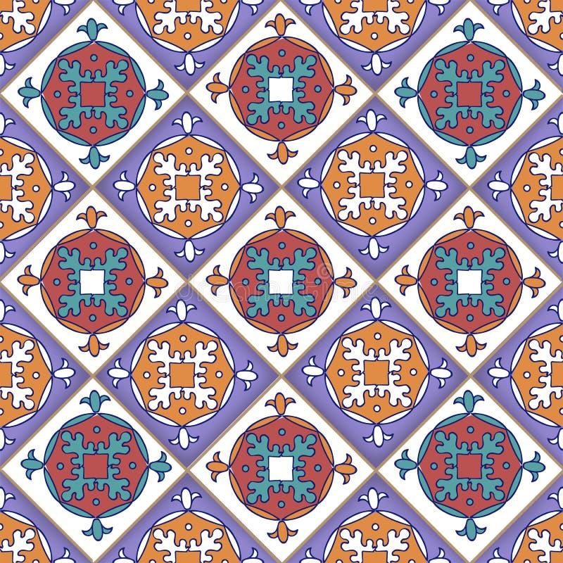 Naadloos patroon van stukjes, Portugese tegels, vector stock illustratie