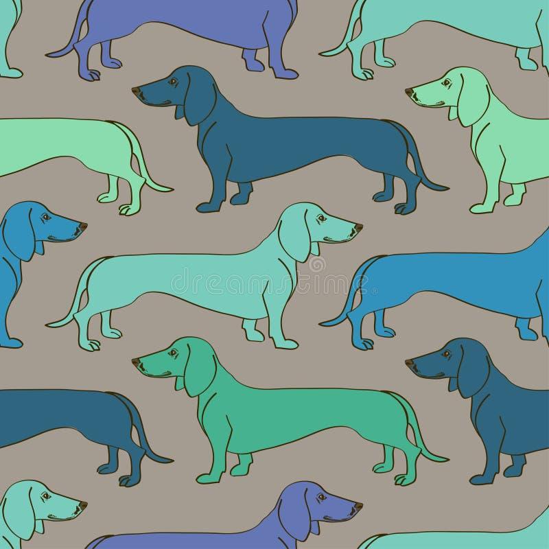 Naadloos patroon van Tekkelhonden stock illustratie