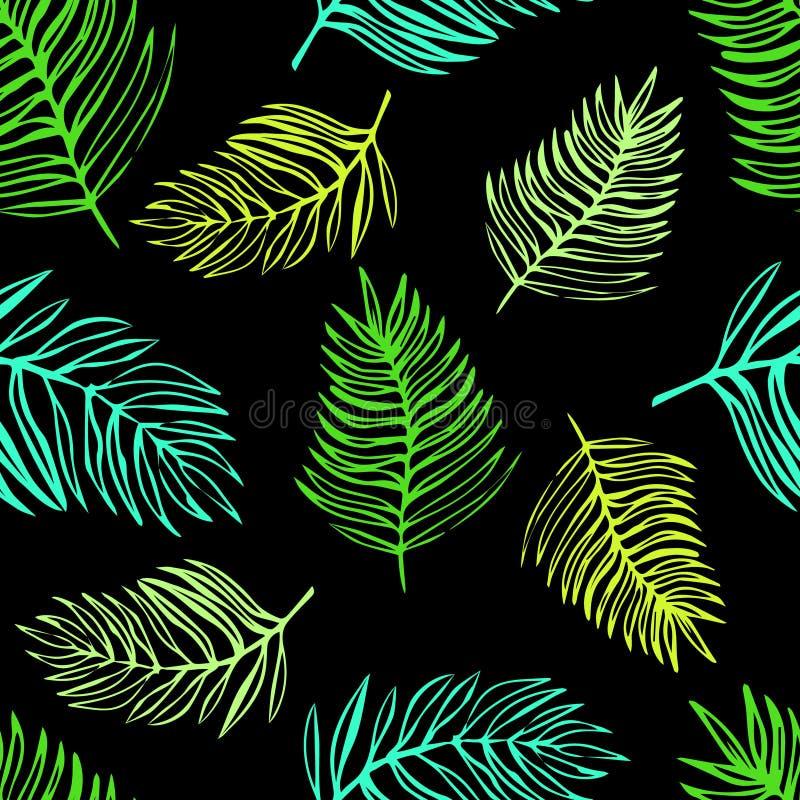 Naadloos patroon van tropische exotische bladeren royalty-vrije illustratie