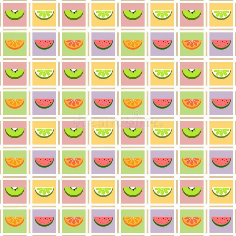 Naadloos patroon van tropische vruchten op gekleurde vierkanten royalty-vrije illustratie