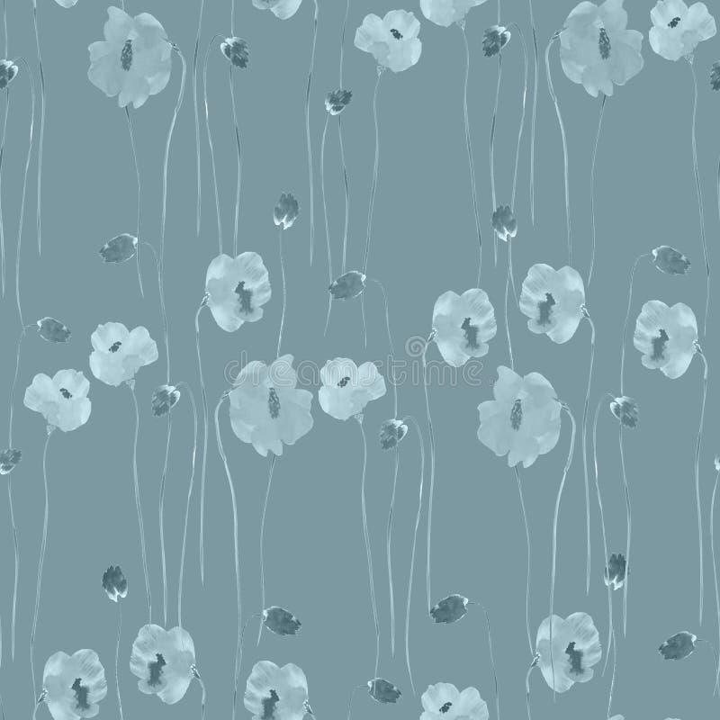 Naadloos patroon van turkooise bloemen op een diepe turkooise achtergrond watercolor stock illustratie