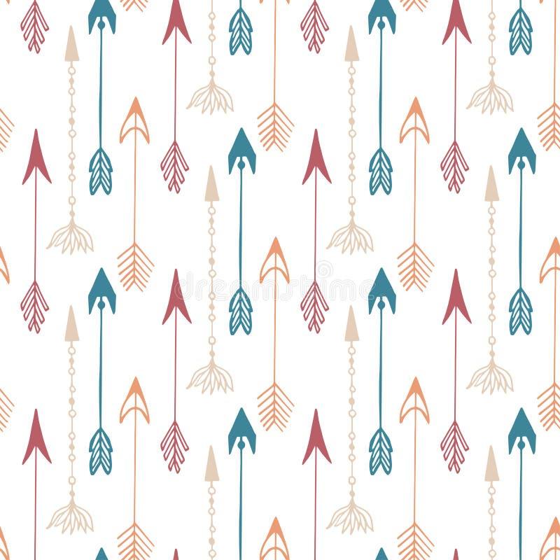 Naadloos patroon van uitstekende pijl Hand getrokken pijlentextuur voor textiel, druk, Web, het verpakken Vector stock illustratie