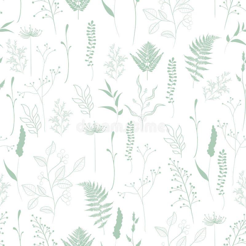 Naadloos patroon van varen, verschillende boom, gebladerte natuurlijke takken, groene bladeren, kruiden stock illustratie