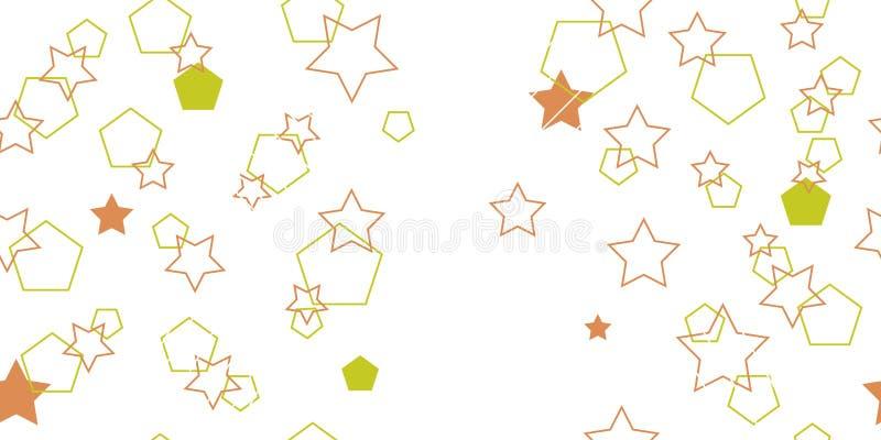 Naadloos patroon van veelhoeken en sterren Gebouwde vormen Vectorillustratie stock foto