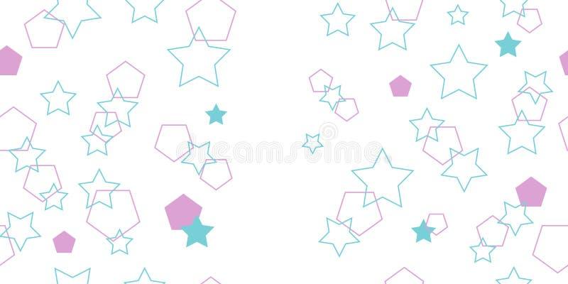Naadloos patroon van veelhoeken en sterren Vectorillustratie stock afbeeldingen