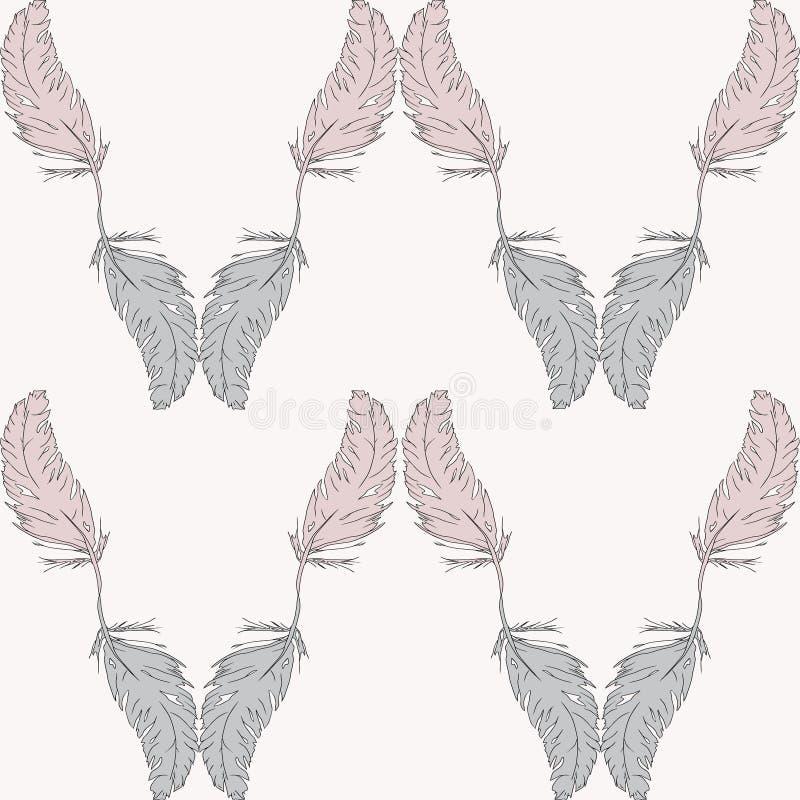 Naadloos patroon van veren royalty-vrije illustratie