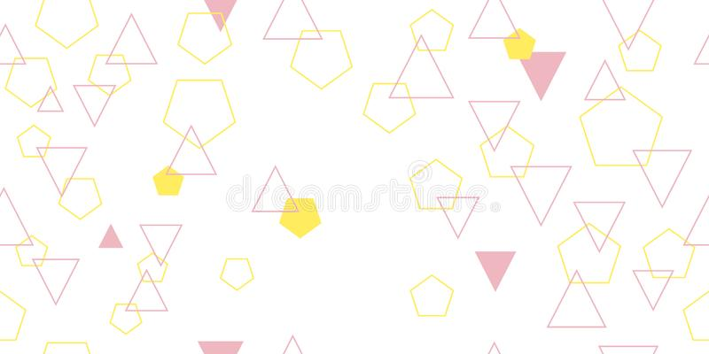 Naadloos patroon van verschillende driehoeken en pentagons Vectorillustratie stock afbeelding