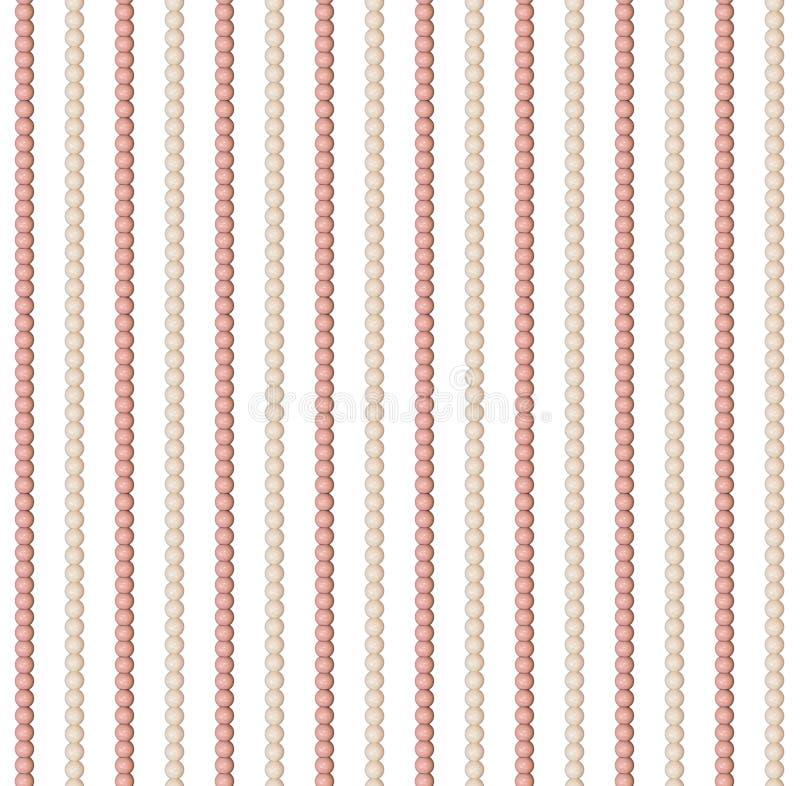 Naadloos patroon van verschillende parels Acrylparels De parels worden verticaal rechtstreeks geschikt Parels, een halsband van a vector illustratie