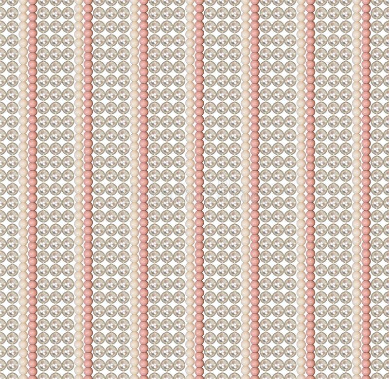 Naadloos patroon van verschillende parels Parel, acrylparels De parels worden verticaal rechtstreeks geschikt Comité van parels P vector illustratie