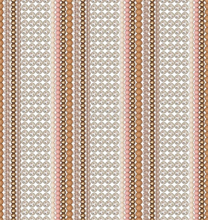 Naadloos patroon van verschillende parels Parel, glas, acrylparels De parels worden verticaal rechtstreeks geschikt Comité van pa stock illustratie