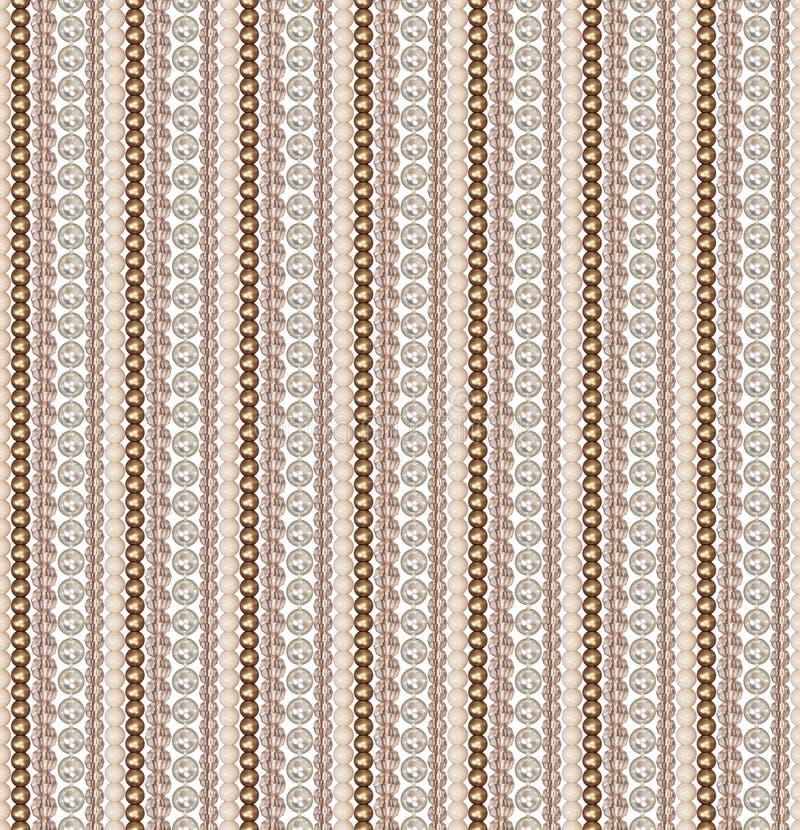 Naadloos patroon van verschillende parels Parel, glas, acrylparels De parels worden verticaal rechtstreeks geschikt Comité van pa royalty-vrije illustratie