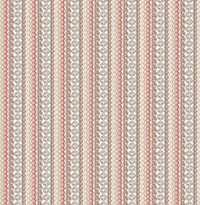 Naadloos patroon van verschillende parels Parel, glas, acrylparels De parels worden verticaal rechtstreeks gevestigd Comité van p vector illustratie