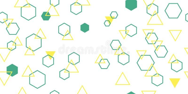 Naadloos patroon van verschillende poliepen driehoeken en zeshoeken Vectorillustratie stock fotografie